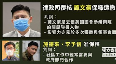 【初選47人案】譚文豪保釋遭撤銷 官:2019年曾去信美參眾兩院促通過《人權與民主法案》   獨媒報導   香港獨立媒體網