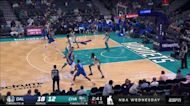 Kristaps Porzingis with a buzzer beater vs the Charlotte Hornets