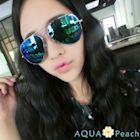 AQUA Peach-水銀反光鏡面復古飛行墨鏡 (綠色)
