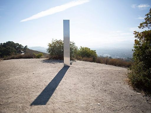 A 3rd metal monolith has appeared in California - it's almost an exact match to the 2 monoliths that disappeared in Utah and Romania