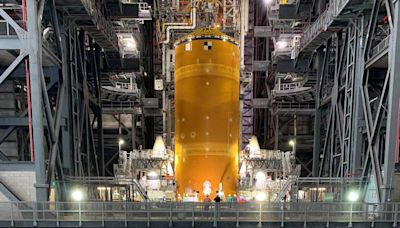 Photos shows NASA's newly assembled megarocket, which is taller than the Statue of Liberty and its most powerful launch vehicle built since the 1960s