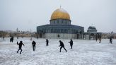 Jerusalem's Old City turns white after rare snowfall