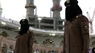 Saudi women stand guard in Mecca for the first time
