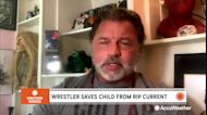 Wrestling superstar pulls child from a rip current