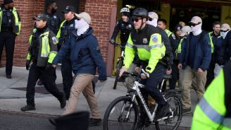 Masked white nationalists march in Washington
