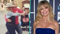 Goldie Hawn Spontaneously Dances To Street Performers With Stepson Boston Russell