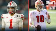 Nick Wright explains why Justin Fields is a safer bet than Jimmy G for New England | FIRST THINGS FIRST