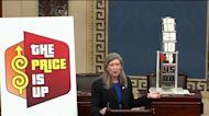 Sen. Joni Ernst brings prop to hearing showing seriousness of Biden's inflation