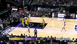 Davion Mitchell with a 2-pointer vs the Los Angeles Lakers