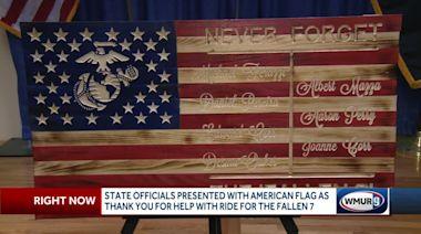 Wooden flag honors victims of Randolph motorcycle crash
