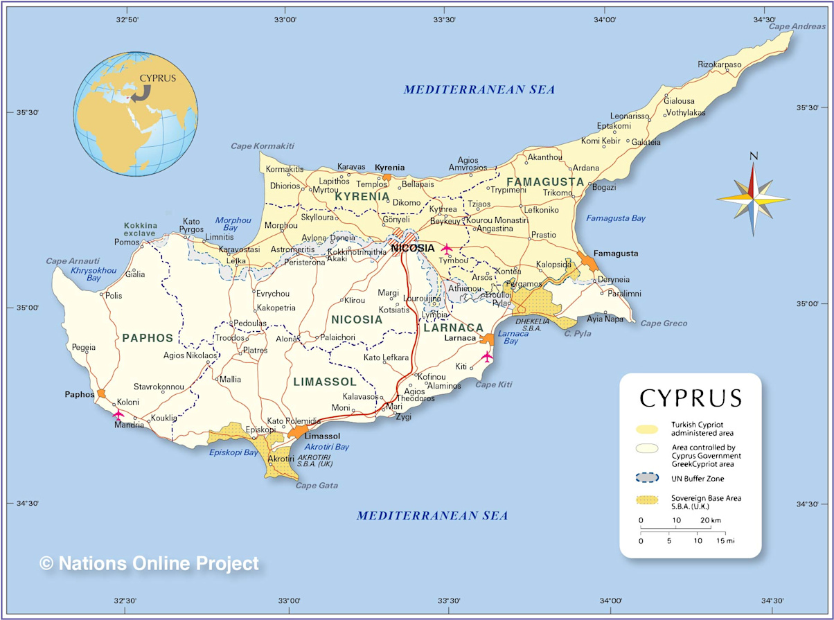 political map of cyprus map based on a un map