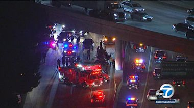 LAPD motorcycle officer injured in crash on 170 Freeway in North Hollywood