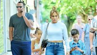 Jennifer Lopez & Alex Rodriguez Cuddle With Their Children During A 'Perfect Saturday' At The Beach
