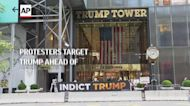 Protesters target Trump ahead of deposition