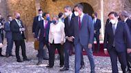 Angela Merkel and King Felipe arrive at Yuste monastery