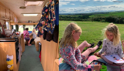 Family 'unschool' their children in tiny caravan after selling family home