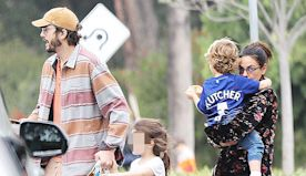 Ashton Kutcher & Mila Kunis Spotted With Kids Wyatt, 5, & Dimitri, 3, At Playground Birthday Bash