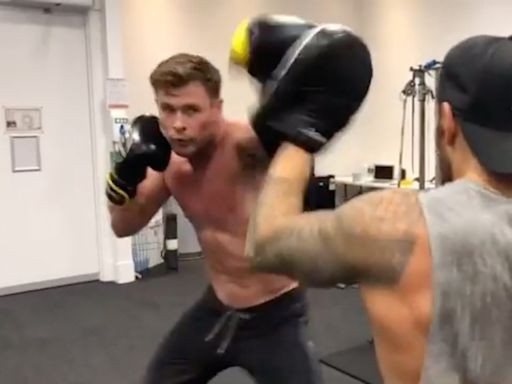 Chris Hemsworth Shows Off His Ripped Body as He Shares Shirtless Boxing Workout Video