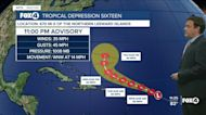 Tropical Depression Sixteen forms in the Atlantic