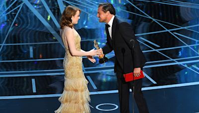 Emma Stone on Accepting Oscar from Childhood Crush Leonardo DiCaprio: 'Most Surreal Moment'