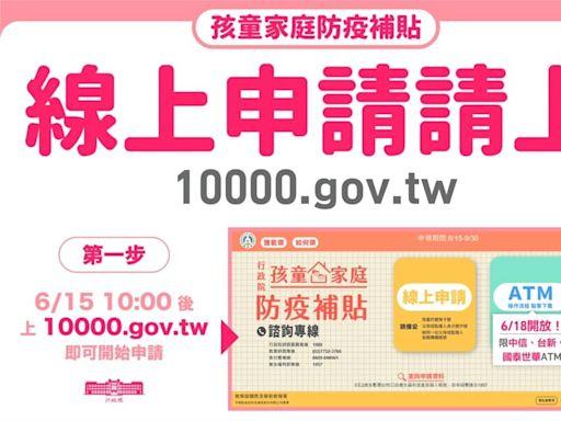 孩童家庭防疫補貼1萬元今起申請 蘇揆:6/18陸續入帳