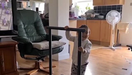 Toddler Inspired by Olympics Shows Off Climbing Skills