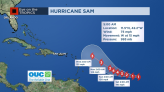 Sam strengthens into Category 1 hurricane, rapid intensification to continue