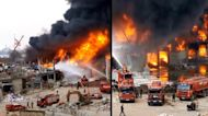 Massive Fire Breaks Out at Beirut Explosion Site in Lebanon