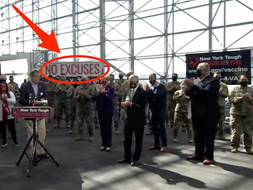 Andrew Cuomo stood in front of a 'No Excuses' banner at an event he banned reporters from attending