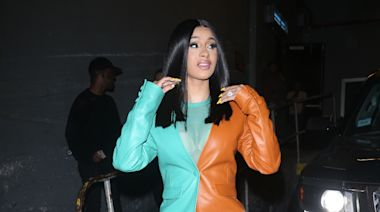 Cardi B Is So '90s in Sticker Sweats & Matching Jacket Teamed With These Buzzy Maison Margiela x Reebok Sneakers