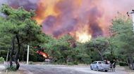 Drone footage shows wildfire destruction in Turkey