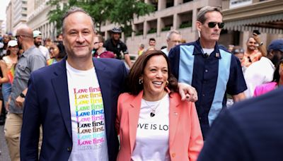 Kamala Harris becomes first vice president to march in Pride event