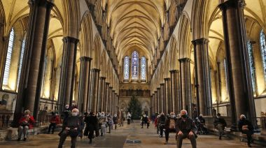 Organists offer soundtrack to jabs at medieval UK cathedral