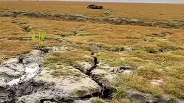 日月潭湖底龜裂大 曾文水庫剩6% 仁義潭撐到6月