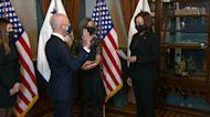 Kamala Harris swears in Alejandro Mayorkas as US Homeland Security chief