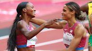 Sydney McLaughlin and Dalilah Muhammad react to intense 400-meter hurdles finish