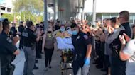 Applause for California Police Officer as He Leaves Hospital Following Shooting