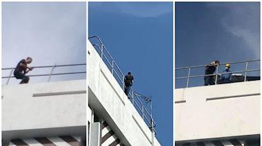 紅磡男子大廈天台危坐 消防開氣墊戒備