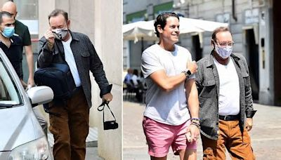 Kevin Spacey arrives in Turin with his live-in ex-popstar manager to film comeback movie