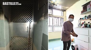 寶達邨大火現場門閘焦黑 起火單位上層地熱仍未散去 | 社會事