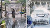 公司設置「消毒通道」防疫 員工疑惑:洗車還是洗人?