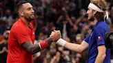 Nick Kyrgios can't help but laugh as Stefanos Tsitsipas takes another break at Laver Cup