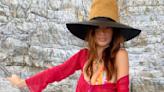 Emily Ratajkowski Tours the Almalfi Coast in a Vibrant Thong Bikini and Cropped Cardigan