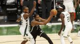NBA Playoffs: Former Warrior Kevin Durant scores 28 points in Nets' game 4 loss vs. Bucks, 107-96