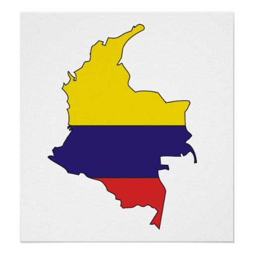 Colombia Flag Map full size Posters