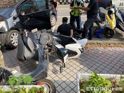 拒盤查猛踩油門「員警遭拖行」 慣竊撞上5機車險衝入幼兒園