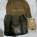 二手精品Gucci古馳 GG托特包 單肩斜跨包 全黑皮革