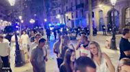 Bottle Hurled at Police as Barcelona Street Party Shut Down