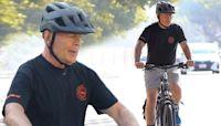 Bruce Willis enjoys a sunny bike ride back home in California