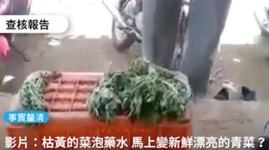 【事實釐清】網傳影片「好恐怖喔!枯黃的菜浸泡藥水馬上新鮮漂亮的青菜,難怪癌症到處都是」?